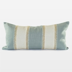 Sky Blue Belgian Chintz Linen Pillow Wide